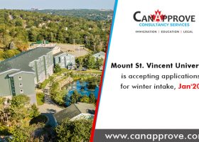 Mount Saint Vincent University of Nova Scotia province in Canada is accepting applications for the winter intake, Jan 2020!